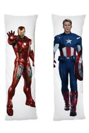 Captain America Iron Man One or Two Side Personalized Rectangular Body Pillows from Real Person Picture It On Canvas with Zipper